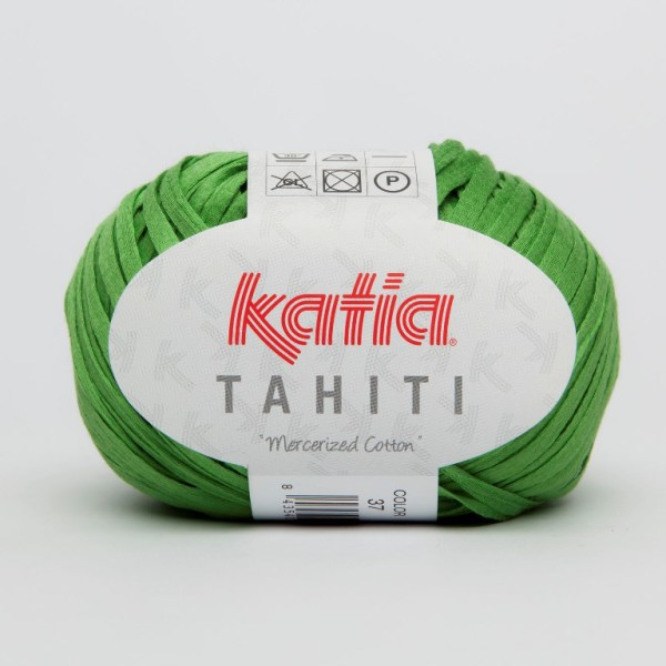 Green Katia Tahiti Mercerized Ribbon Cotton Yarn for Crocheted Shoes